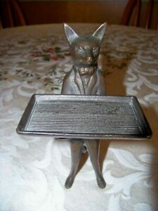Vintage Standing Fox with Tray Bronze/Brass Business Card Holder
