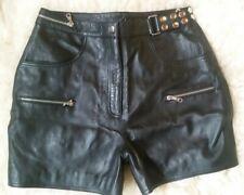 Crazy Outfits-sexy echt Leder-Hotpants-Hose-kurz-schwarz-Nieten-Gr.46-NEU-NP 169