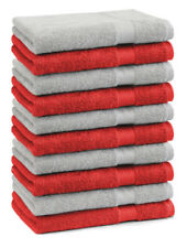 Betz Lot de 10 serviettes débarbouillettes Premium rouge & gris argenté