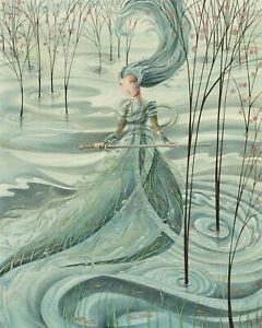 8x10 archival PRINT - LADY OF THE LAKE - fantasy warrior water medieval sword