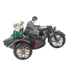 Collectable Vintage Wind Up Parade Motorcycle Sidecar Clockwork Tin Movable