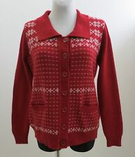 SIZE M MEDIUM OPAL JUMPER CARDIGAN FAIR ISLE NORDIC 100% WOOL RED EXCELLENT