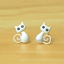 925 Silver Lovely Cat Kitty Stud Earrings Women Girls Animal Jewelry Party Gift