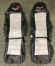 2005-2011 C6 Corvette Genuine Leather Seat Covers Black/Light Grey Standard Seat