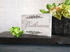 Shabby chic Bathroom Sign Shelf Decor White Powder Room Handmade Vintage Style