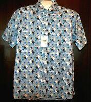 Bertigo Blue White Floral Cotton Stylish Men's Shirt Sz XL 5 NEW $180