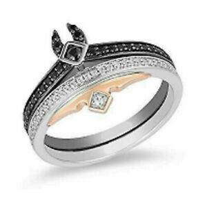 Enchanted Disney Villains Round Diamond Engagement Bridal Ring Set In Silver 04