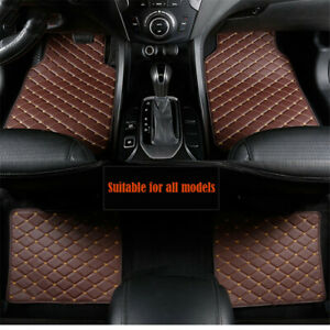 4Pcs Car Red PU Leather Floor Mats 5-seat Auto Liner Front Rear Carpet Mat Set