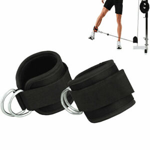 2pcs Weightlifting Double D Ring Gym Straps Neoprene Ankle Cuff Cable Acessories