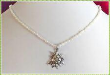 Biwa Perlenkette mit Edelweiß Anhänger - Dirndl Kette - Edelweiss Trachtenkette
