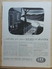 """1953 magazine ad for Lee Tires -Addams Family sets up """"detour"""", Chas. Addams art"""