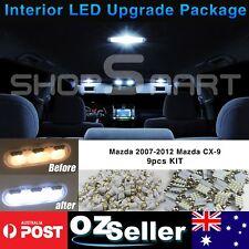 9Pcs Car Interior White Light Upgrade LED Full Kit For 2007-2012 Mazda CX-9