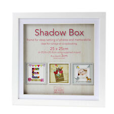 25cm Square White Wooden Deep Shadow Box 3D Photo Picture Frame Scrabble Display