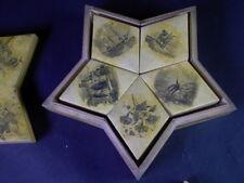 Biedermeier Spiel JETONS in aufwändiger HOLZSCHATULLE Sternform mit Umdruckdekor