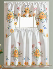 DISPLAY-3pcs THICK Kitchen curtain set spray painted of SUNFLOWER & BUTTERFLY
