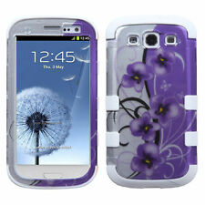 Samsung Galaxy S III 3 Rubber IMPACT TUFF HYBRID Case Cover 2D Twilight Petunias