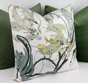 """Villa Nova Artesia Fabric Cushion Cover 17x17"""" Eden Green Floral Brushstrokes"""