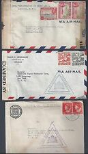 NETHERLANDS CURACAO 1944 THREE WAR TIME COVERS DOUBLE CENSORED IN ARUBA & US