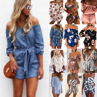 Womens Off Shoulder Playsuits Romper Shorts Mini Jumpsuit Beach Sundress Holiday