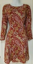 Womens Vero Moda Fit And Flare Dress Rust Green Paisley Flowers Small New.