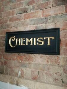 CHEMIST sign carved wood gold black period vintage style wood sign drugs VAC281