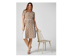 Nina Leonard Elbow Sleeve Printed Solid Godet Midi Dress Short MInk/Ivory Large