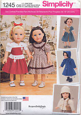 """SIMPLICITY SEWING PATTERN 1245 RETRO/VINTAGE STYLE 18"""" DOLL CLOTHES, DRESS, COAT"""