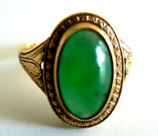 Natural imperial Green 18K Yellow Gold Jadeite Jade Ring VintageAntique Art Deco