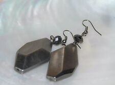 Estate Large Bronze Plastic Oblong with Faceted Bead Dangle Earrings for Pierced