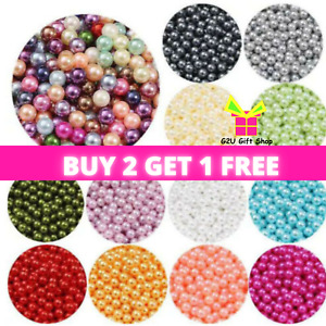 200 Faux Pearl Beads Round Acrylic Mixed Colour Jewellery Wedding Sewing Crafts