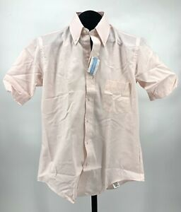 Vtg Arrow Dover Single Needle Tailoring Button Down Shirt Pink Striped 15 1/2