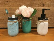 Painted Mason Jar Soap Dispenser Loation Pump Vase Tooth Brush Holder