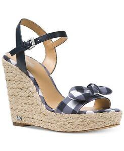 Michael Kors $110 Pippa Gingham Wedge Sandals Optic White Admiral Blue