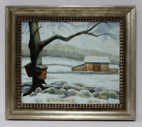Snow Maple Tree Landscape 20 x 24 Art Oil Painting on Canvas w/ Champaign Frame