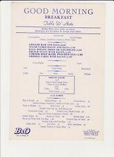 Baltimore & Ohio Breakfast Menu 1953