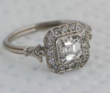 Vintage Style 1 Ct Asscher Cut Diamond Halo Engagement Ring In Solid 925 Silver
