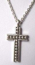 pendentif chaîne bijou vintage religieux signé NAPPIER croix couleur argent 3547