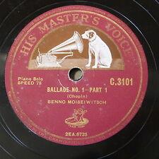 """78rpm 12"""" BENNO MOISEIWITSCH chopin ballade no.1 [ 1&2 ]"""