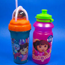 DORA THE EXPLORER JUICE DRINK TUMBLER W/ STRAW & WATER SPORT BOTTLE ZAK BPA FREE