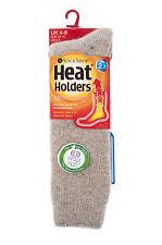 Ladies WOOL 2.7 Tog Long Knee High Thermal Heat Holders Socks 4-8, 37-42 Oatmeal