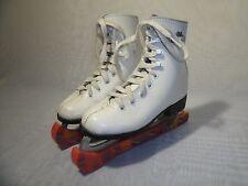 LAKE PLACID WHITE LEATHER FIGURE ICE SKATES / SIZE US 12 / EUR 30 GIRL'S