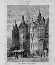 Stampa antica WROCLAW Municipio Polonia Polska 1870 Antique Print antyk druku