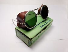 Nos Willson vintage safety glasses with leather side shields. Steampunk goggles.