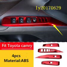 Red Interior Door window switch panel protect cover Tirm For Toyota Camry 2018