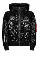 ALPHA INDUSTRIES NASA MA-1 LW Hooded Hi Shine Bomber Jacket | Black