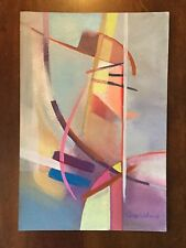 Vintage abstract painting by California artist Chris Weber.  Unframed. 1980's