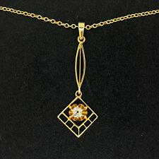 Antique Victorien 14k Or Coussin Mine Coupe Diamant Cravate Pendentif 10k Chaîne