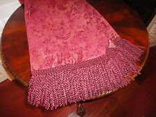 RED WINE FLORAL FLORENTINE CHENILLE FRINGED THROW BLANKET 40 X 57