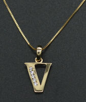 """14K Yellow Solid Gold Created Diamond Initial Letter V Pendant +18"""" Chain"""