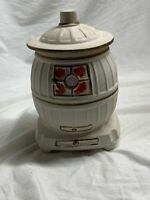 Vintage McCoy Pottery Pot Belly Stove Cookie Jar- readers digest inside lid.